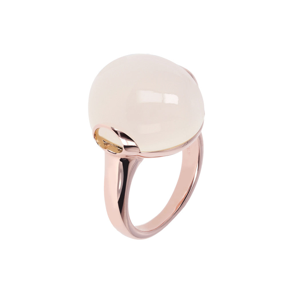Cabochon Elegance Ring WHITE CHALCEDONY