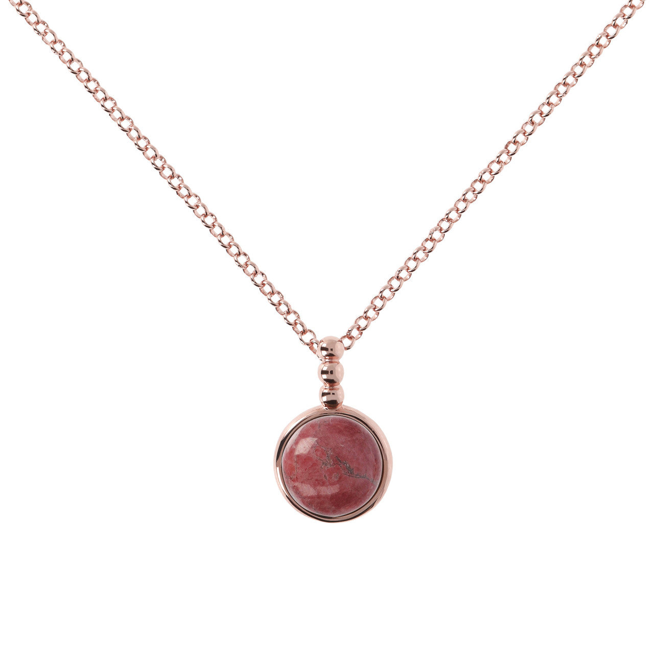 Cabochon Necklace RED FOSSIL WOOD
