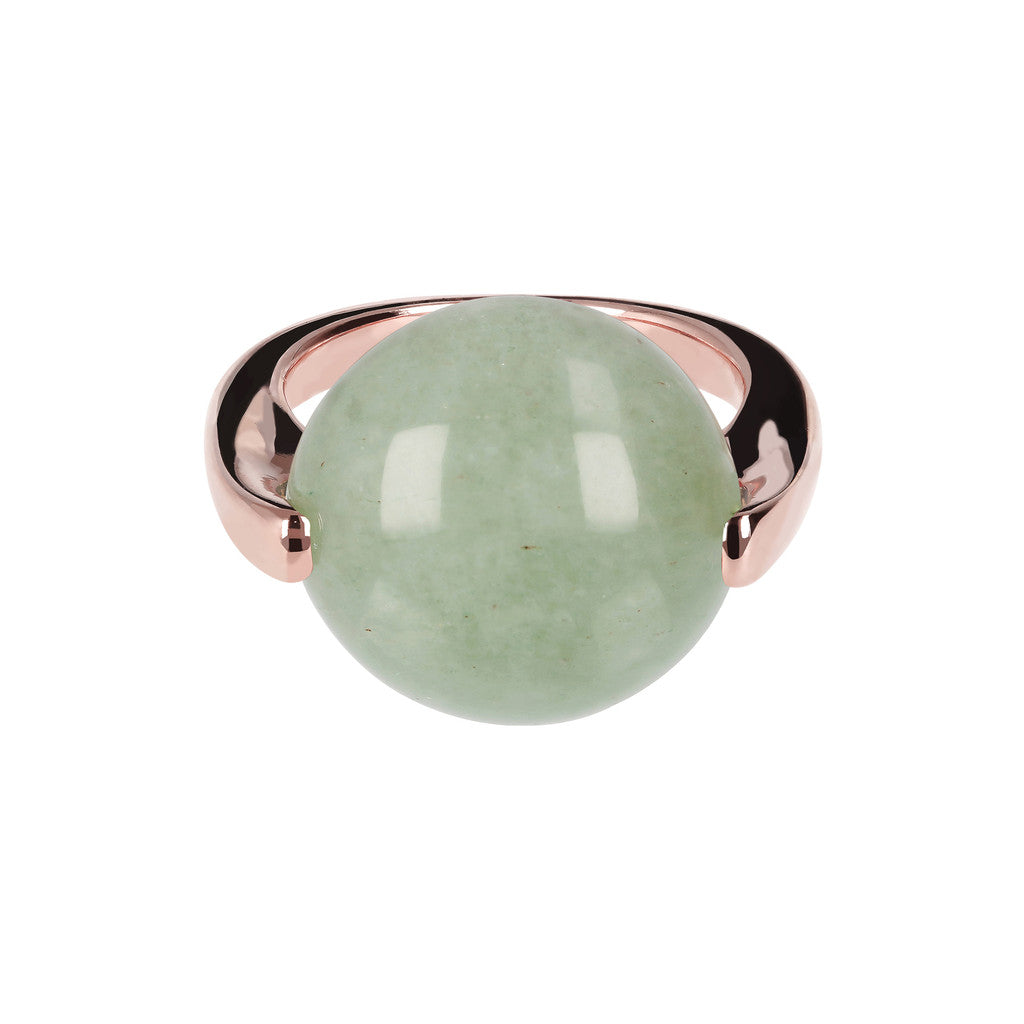 Cabochon Ring Natural Gem AVENTURINE setting