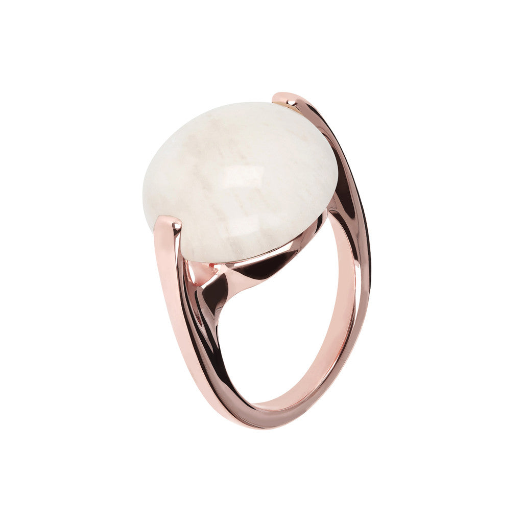 Cabochon Ring Natural Gem WHITE MOONSTONE