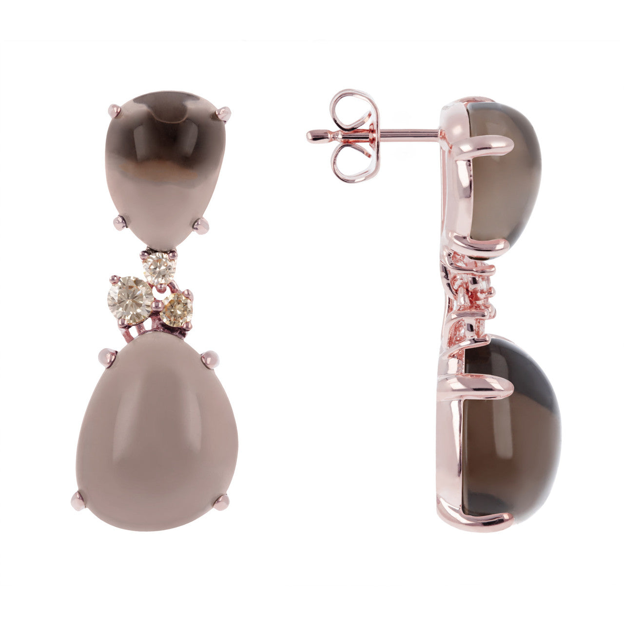 Cabochon earrings SMOKY QUARTZ front and side