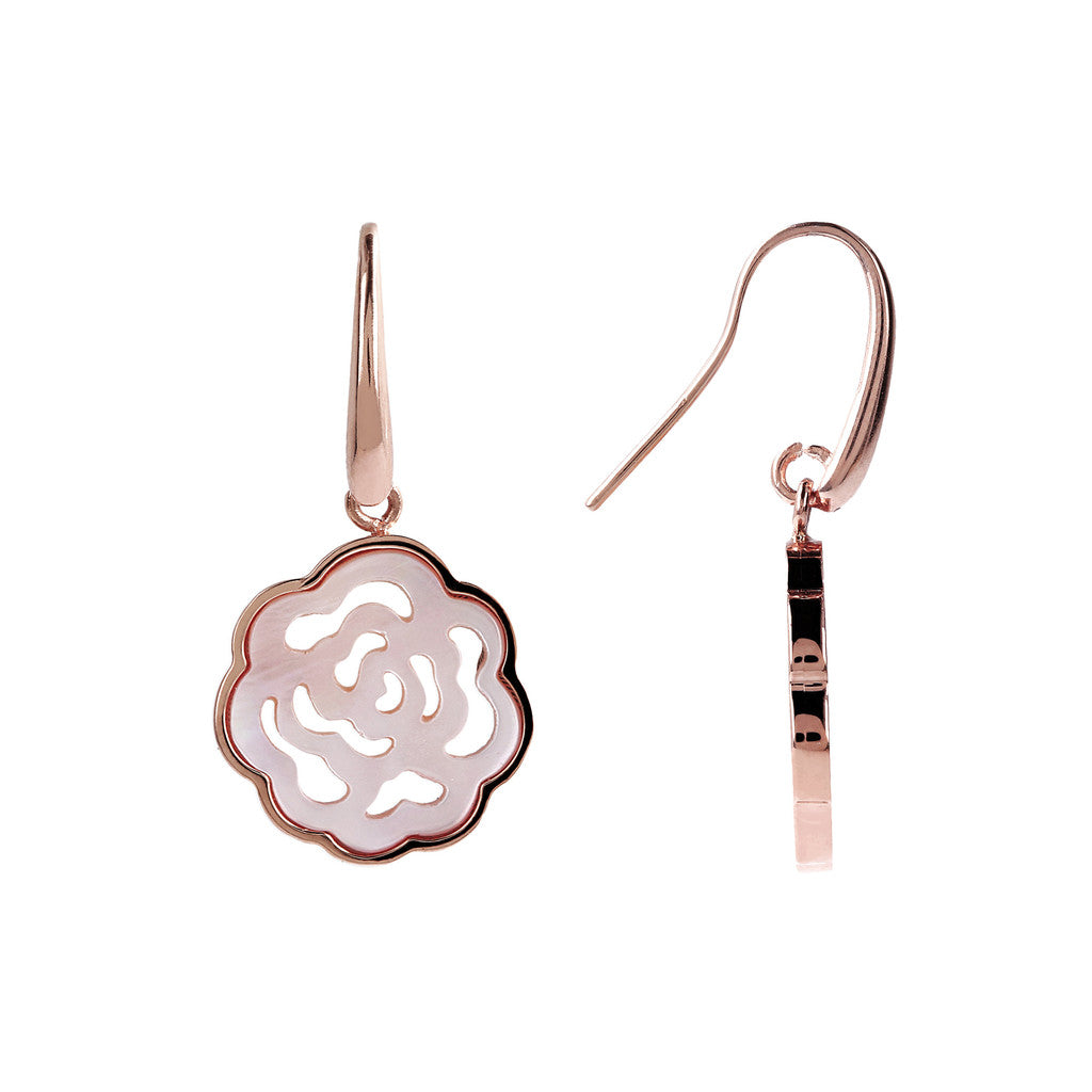 Camellia White Earrings  front and side