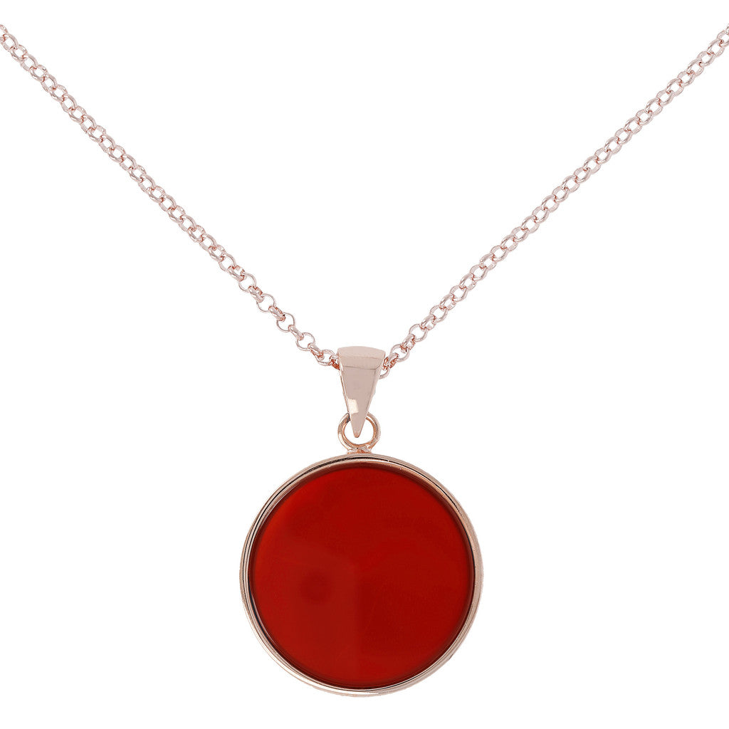 Carnelian  Disc Necklace