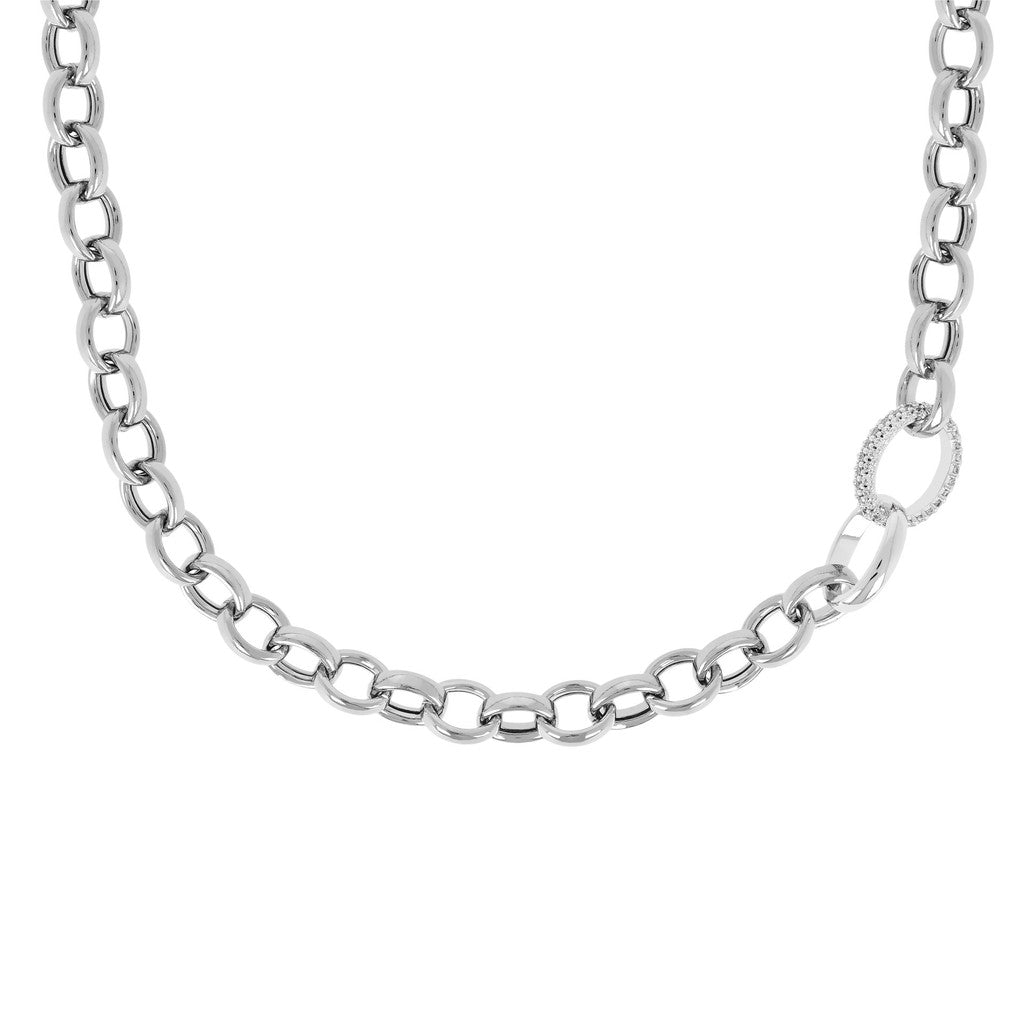 Chain and CZ Colier Necklace Luna from above