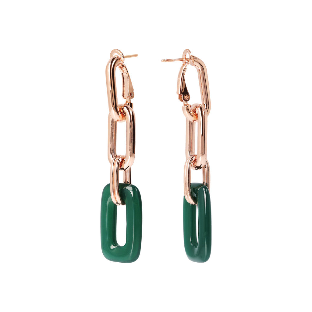 Chain Earrings with Natural Stone GREEN CHALCEDONY front and side