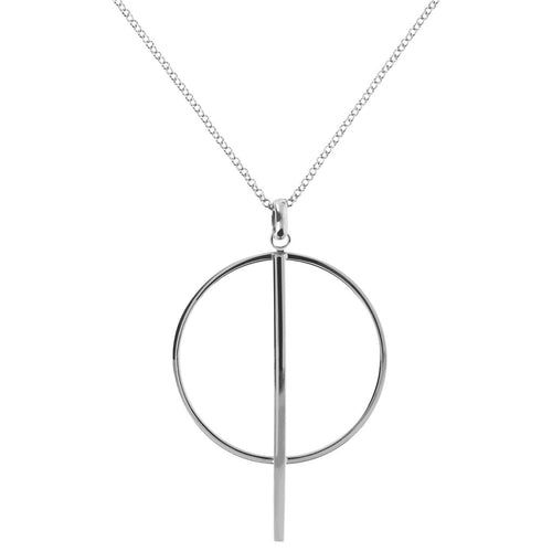 Circle pendant necklace white gold Luna