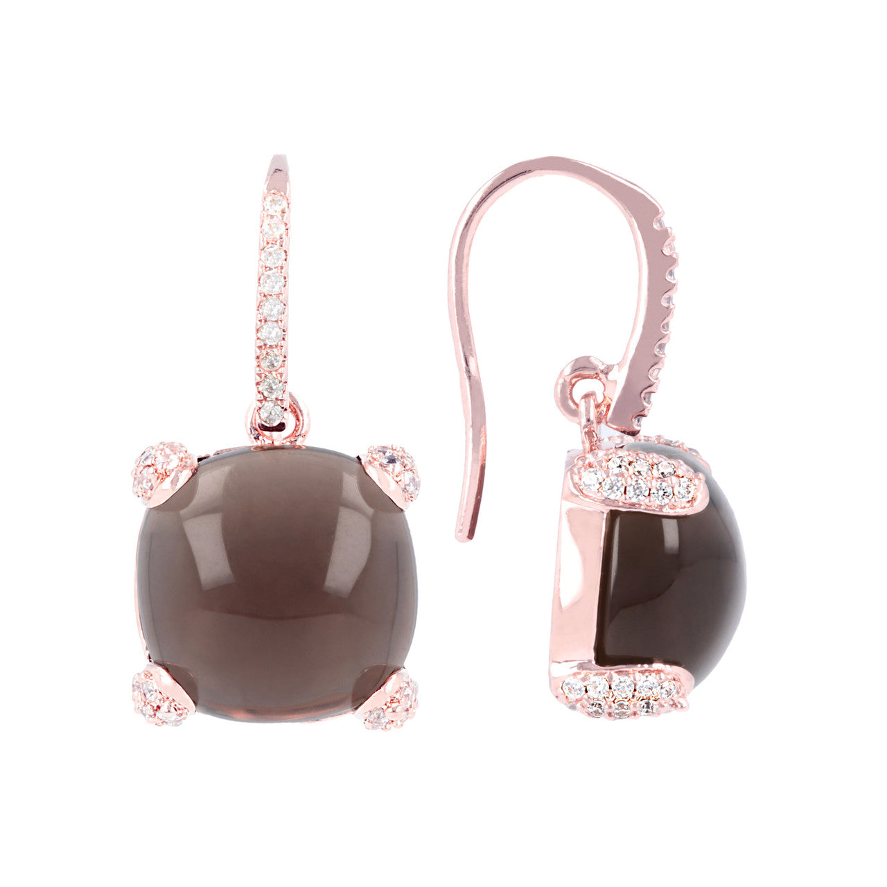 Classy cabochon earrings SMOKY QUARTZ front and side
