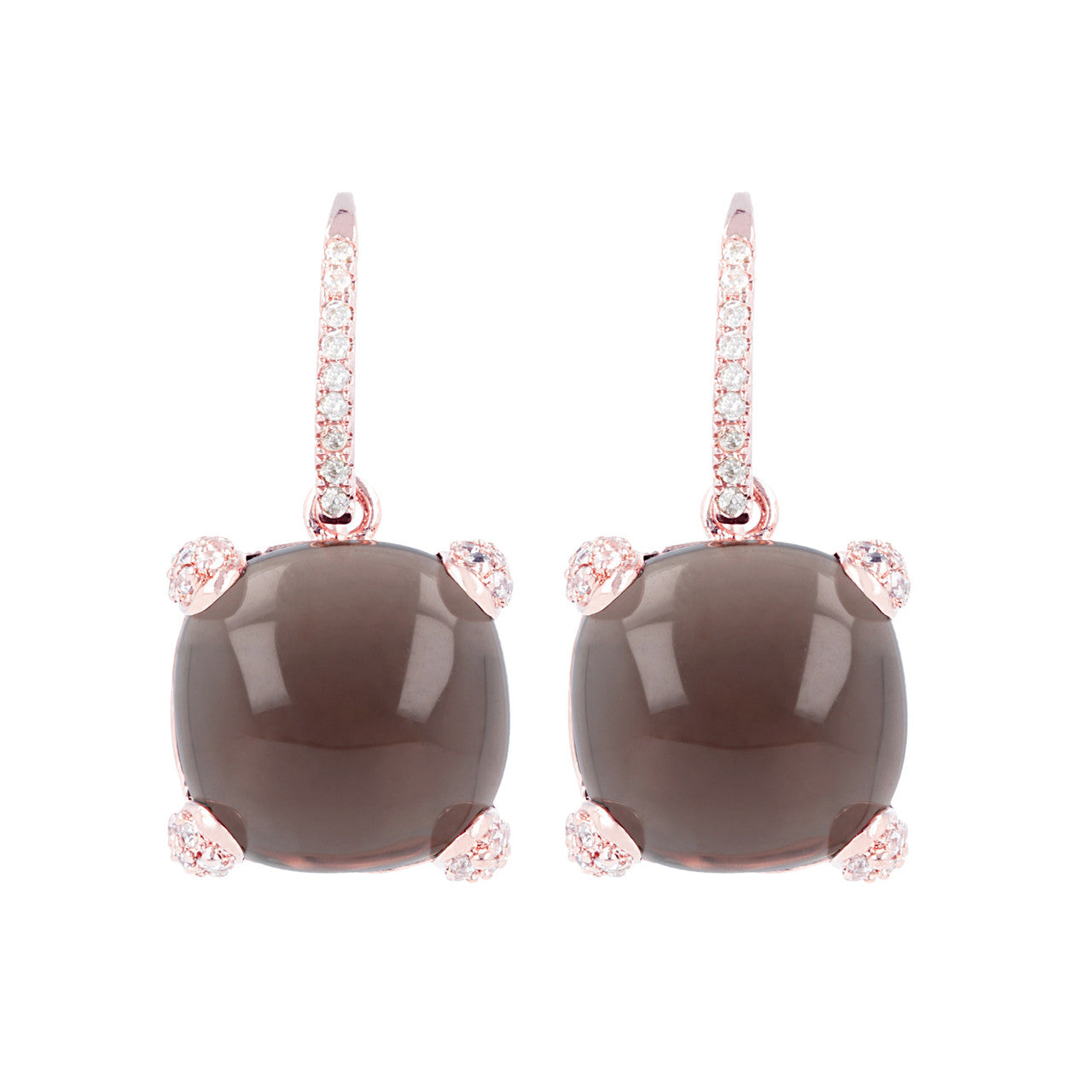 Classy cabochon earrings SMOKY QUARTZ