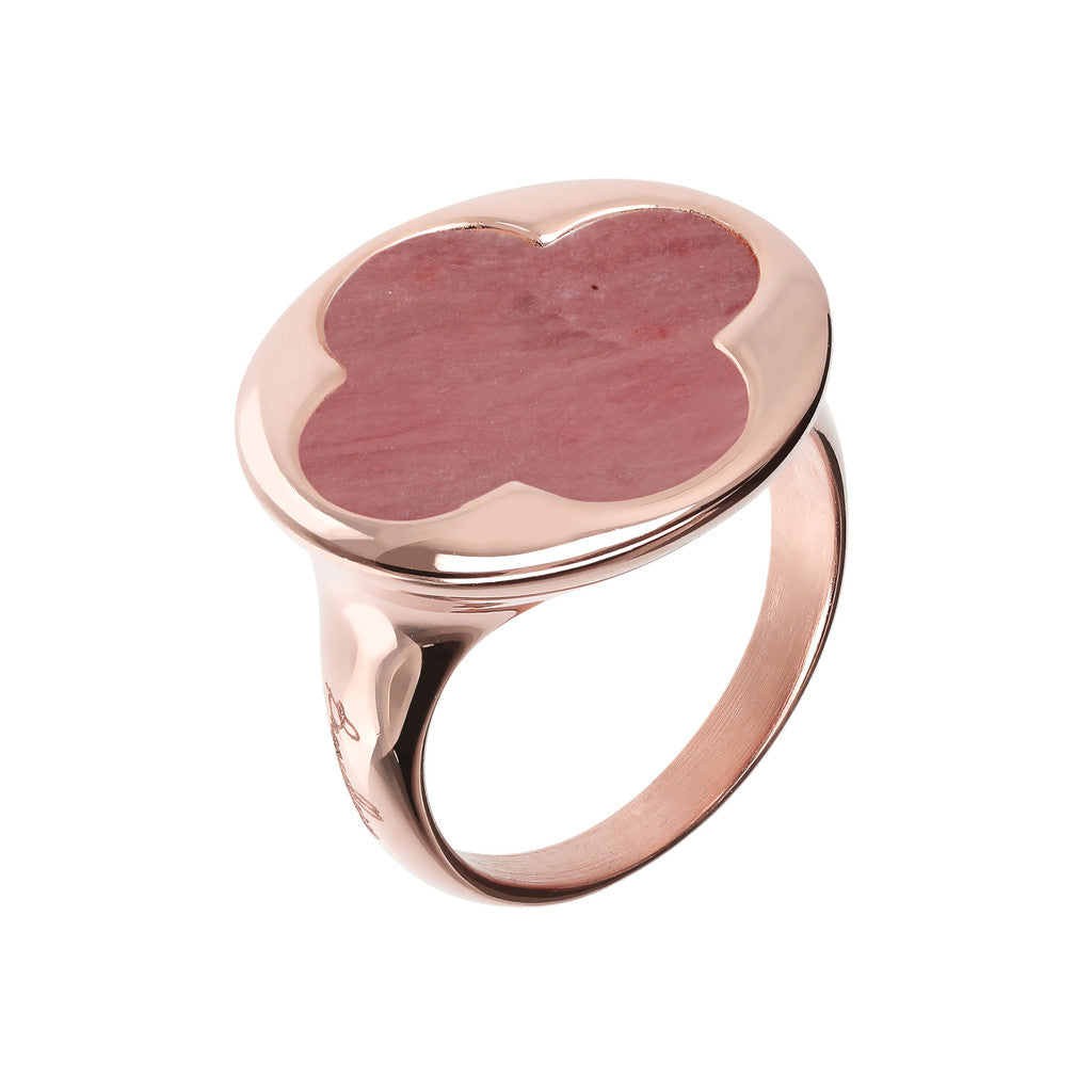 Clover Signet Ring RED FOSSIL WOOD