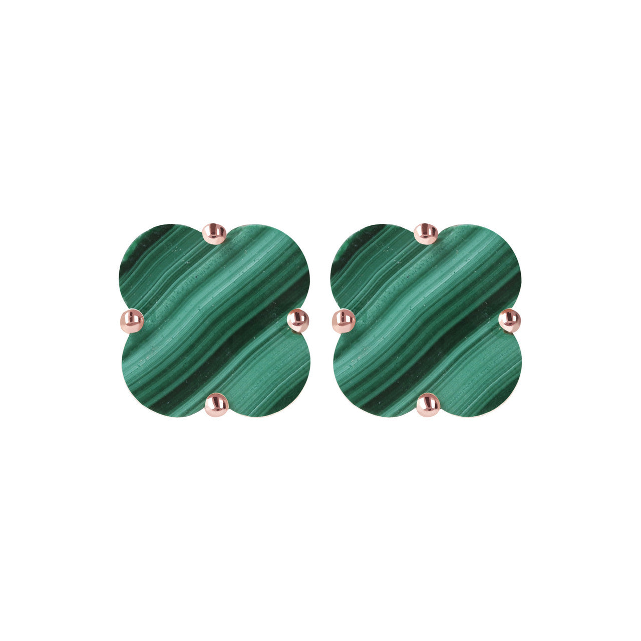 Clover Stud Earrings MALACHITE