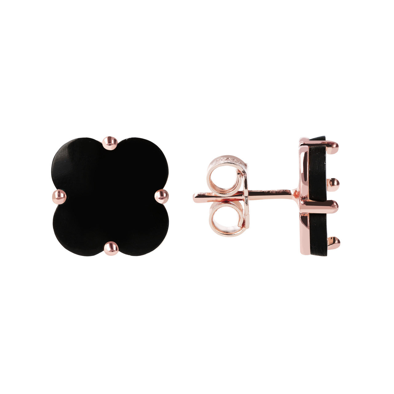 Clover Stud Earrings front and side