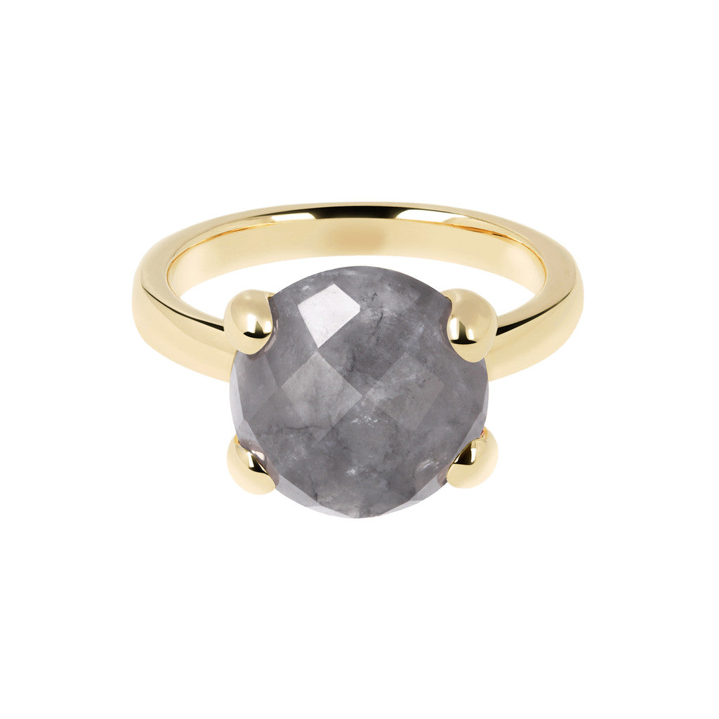 Cocktail Ring Natural Stone Yellow Gold GREY QUARTZ setting