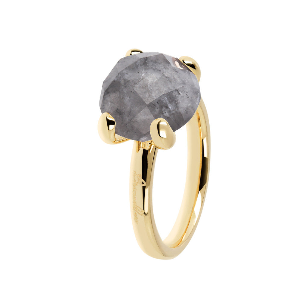 Cocktail Ring Natural Stone Yellow Gold GREY QUARTZ