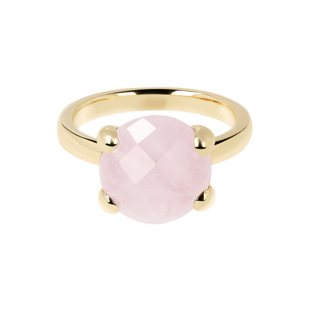 Cocktail Ring Natural Stone Yellow Gold ROSE QUARTZ setting