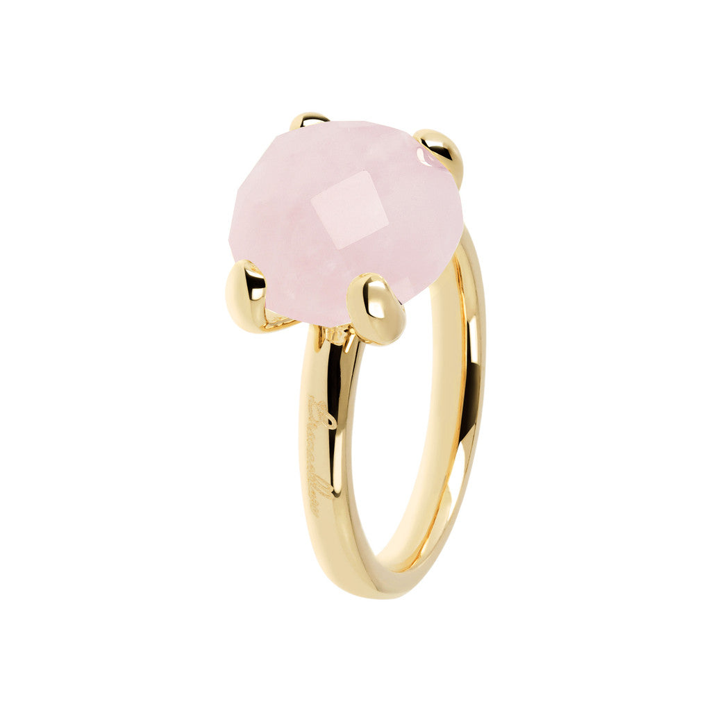 Cocktail Ring Natural Stone Yellow Gold ROSE QUARTZ