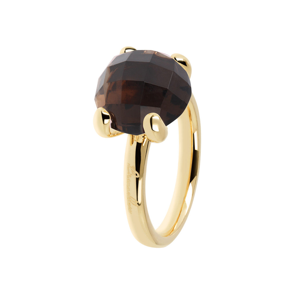 Cocktail Ring Natural Stone Yellow Gold SMOKY QUARTZ