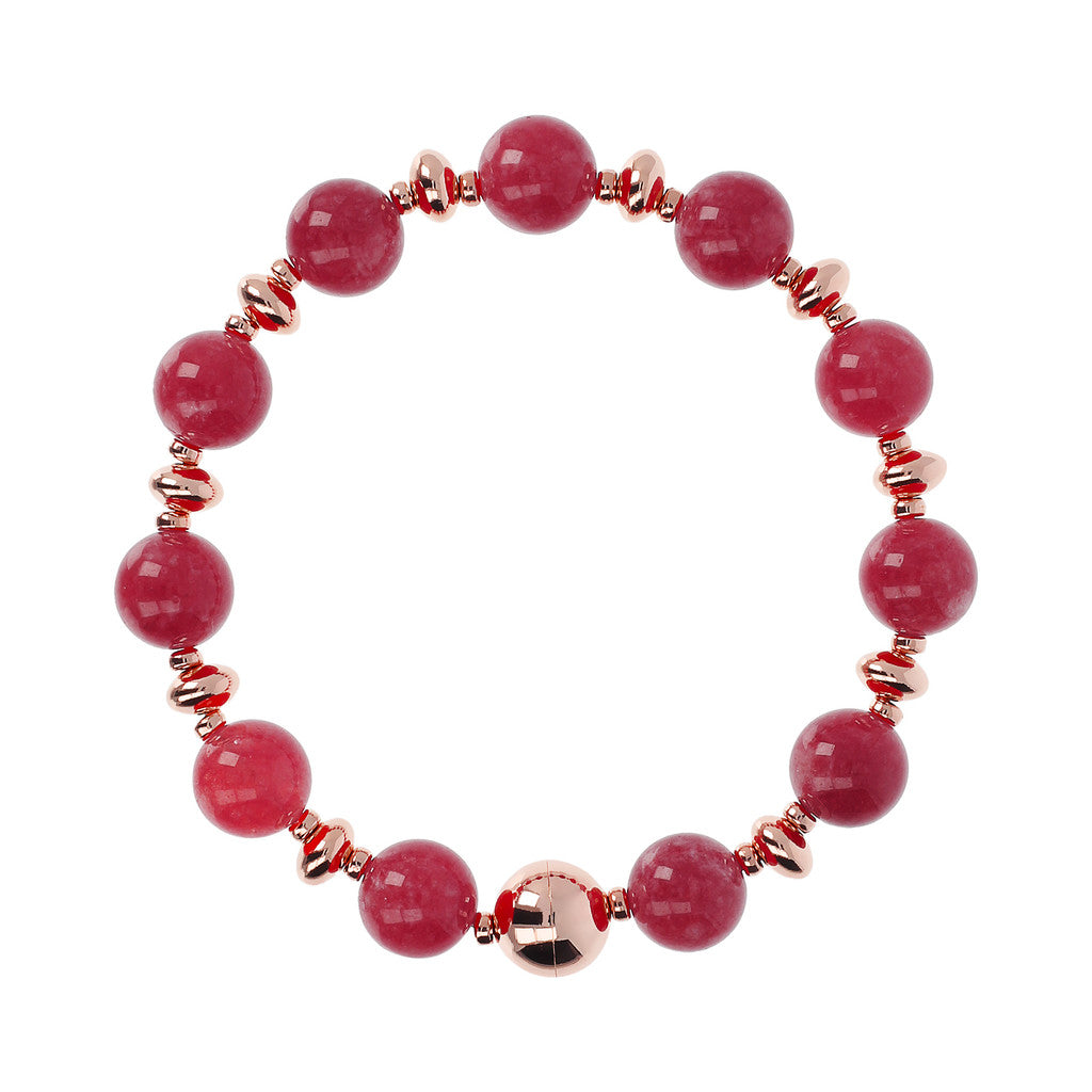 Colorful Bracelet STRAWBERRY RHODOLITE JADE