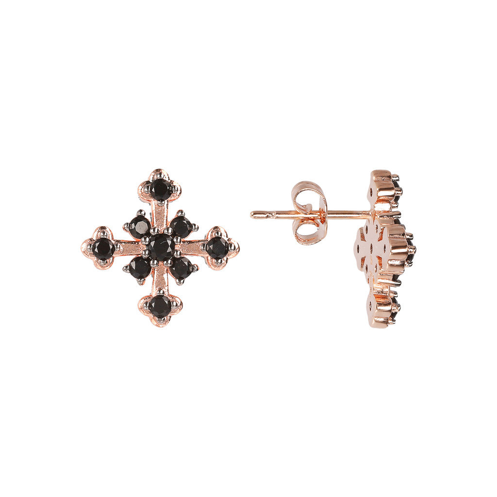 Cross CZ Earring BLACK SPINEL front and side