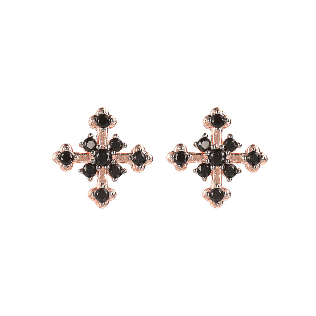 Cross CZ Earring BLACK SPINEL