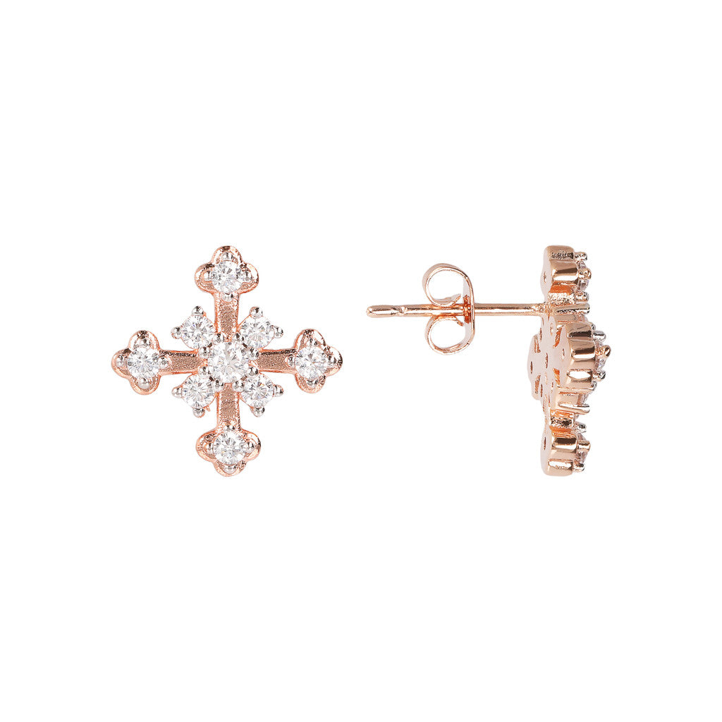 Cross CZ Earring front and side