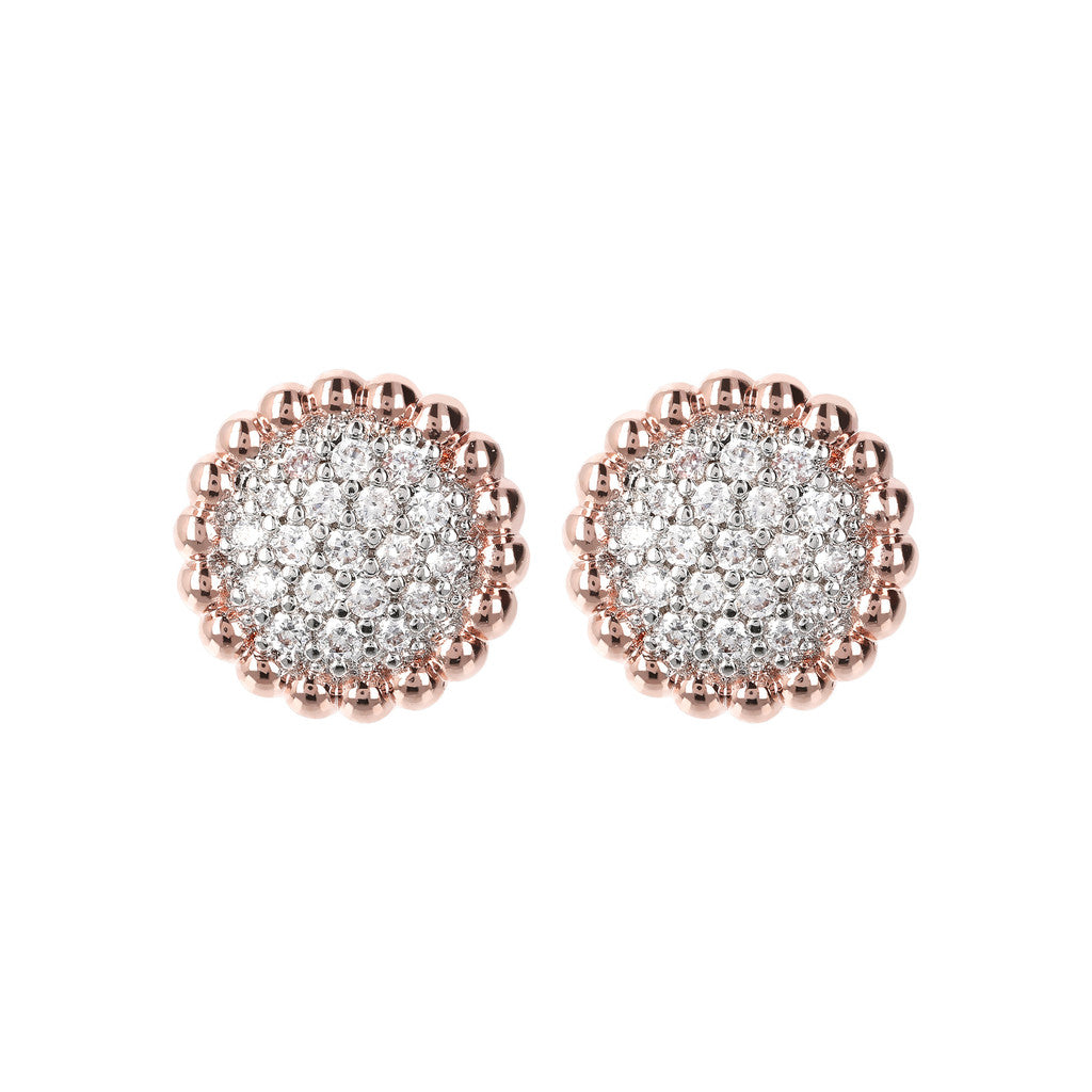 Crown CZ Button Earrings