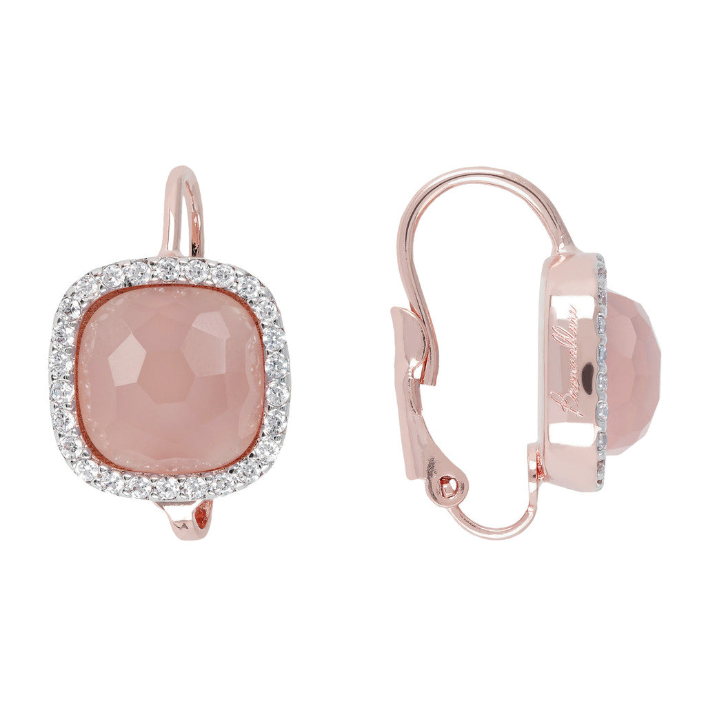 Cushion Cut Pendant Earrings PINK CHALCEDONY front and side