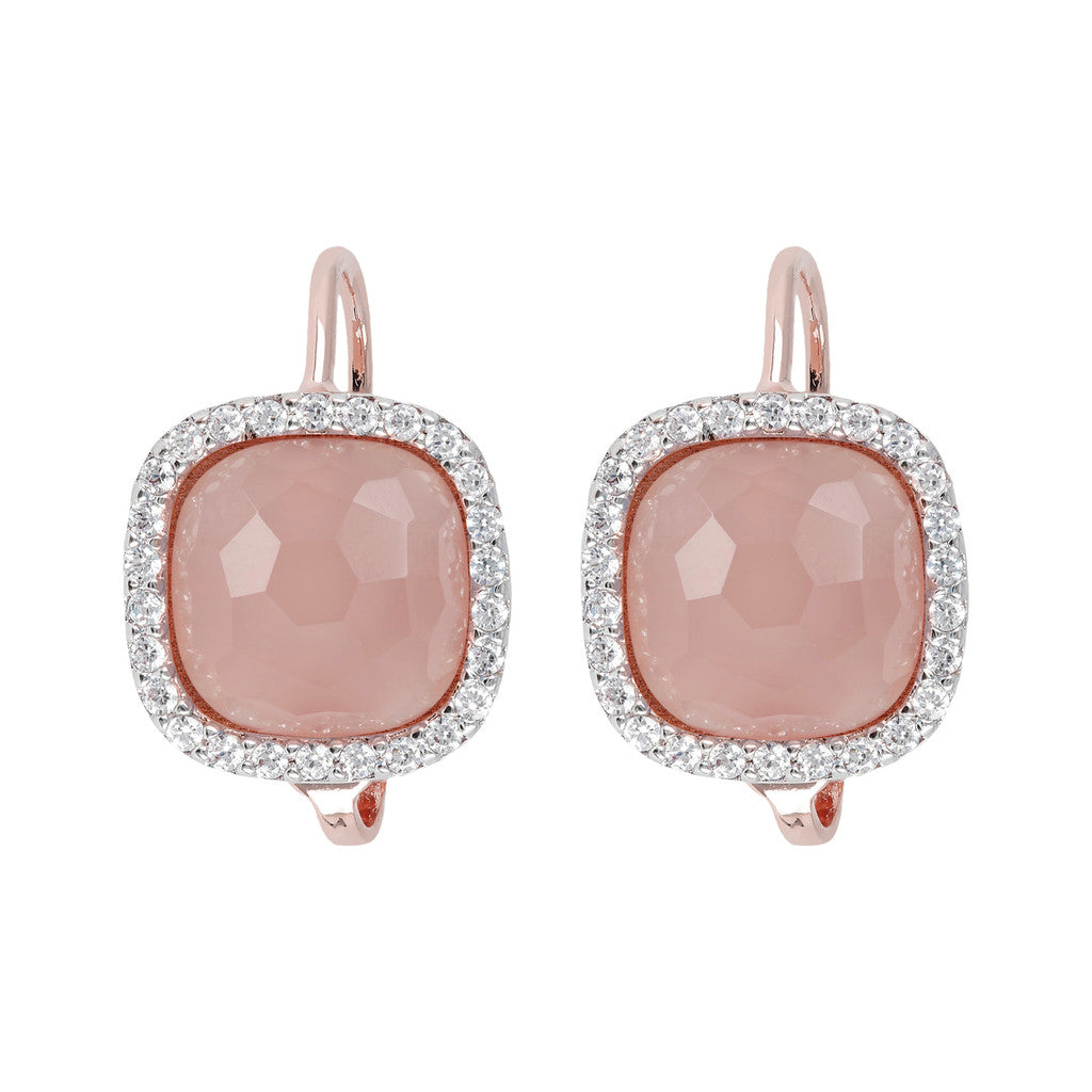 Cushion Cut Pendant Earrings PINK CHALCEDONY