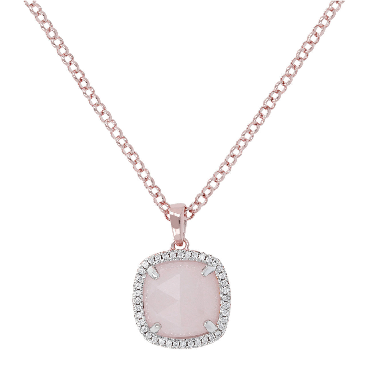 Cushion Quartz Pendant Necklace ROSE QUARTZ