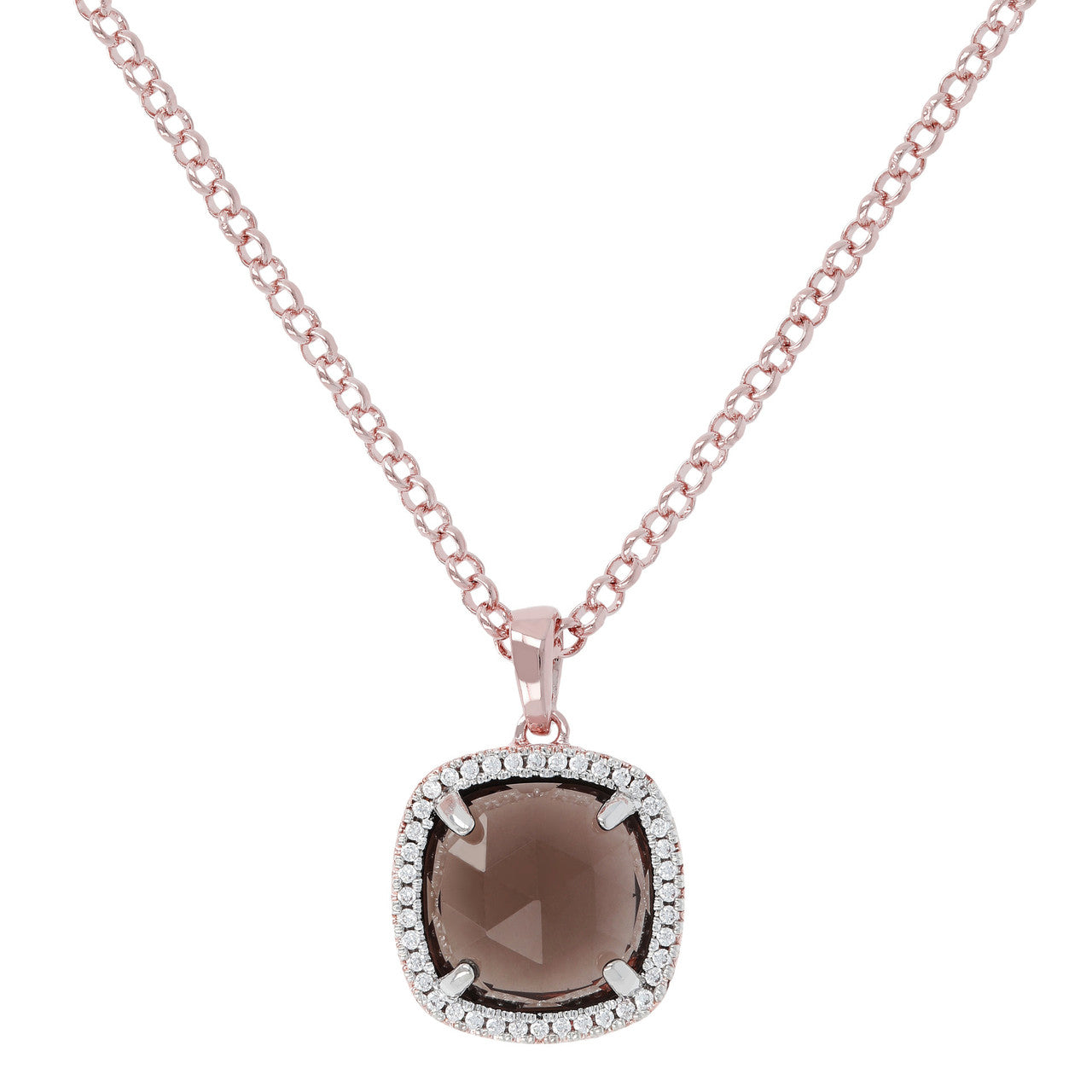 Cushion Quartz Pendant Necklace SMOKY QUARTZ