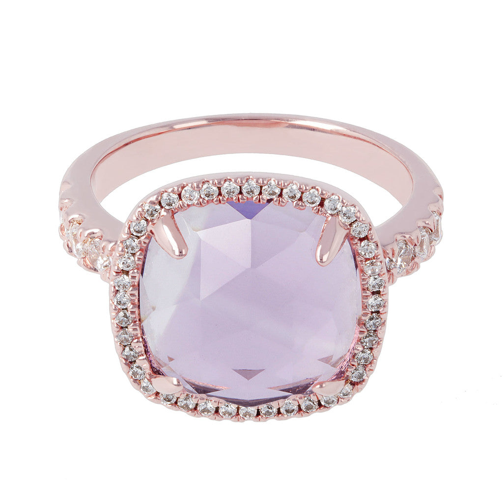 Cushion cut amethyst ring setting