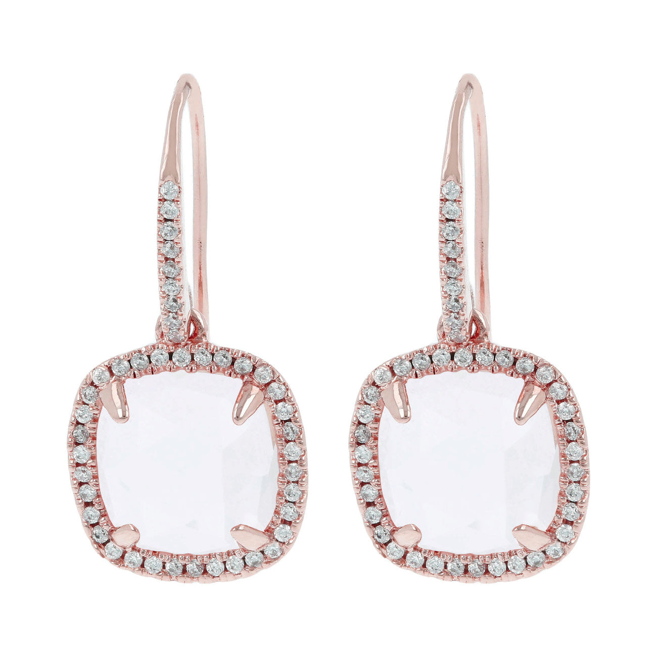 Cubic zirconia stud earrings CRYSTAL QUARTZ