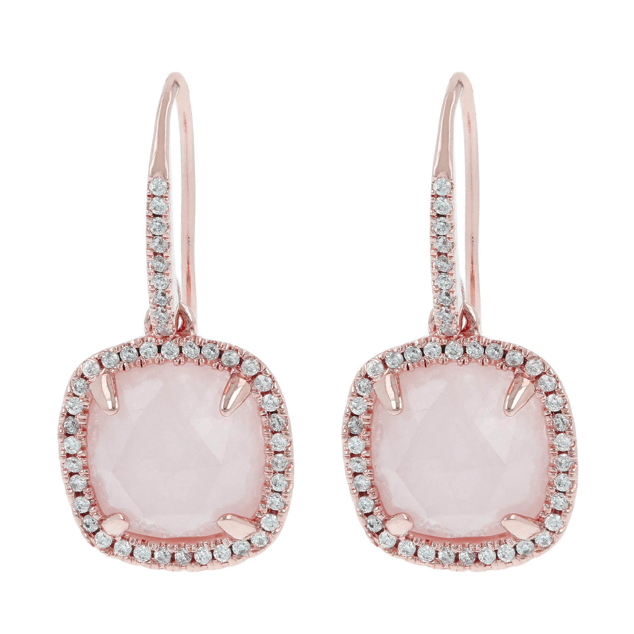 Cubic zirconia stud earrings ROSE QUARTZ