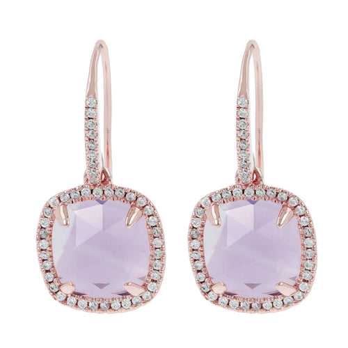 Cushion cut cz stud earrings