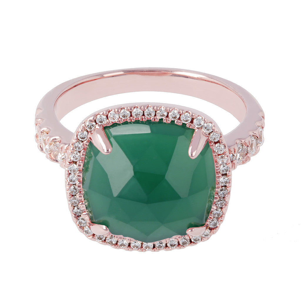 Cushion ring GREEN CHALCEDONY setting