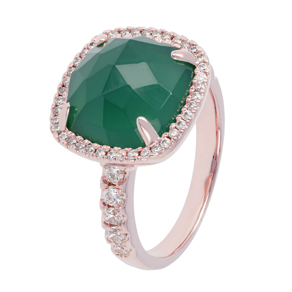 Cushion Ring with Genuine Gemstones