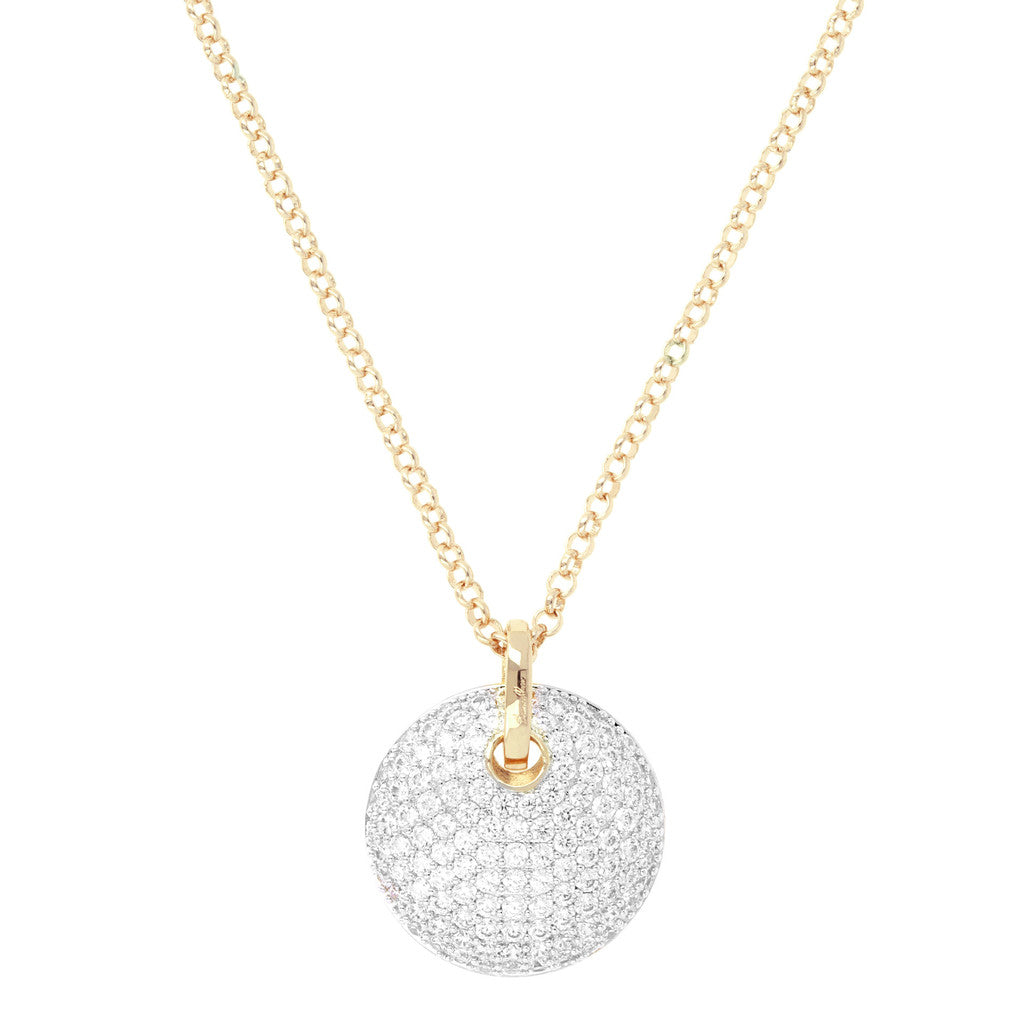 Rolò Necklace with CZ Pavè Yellow Gold