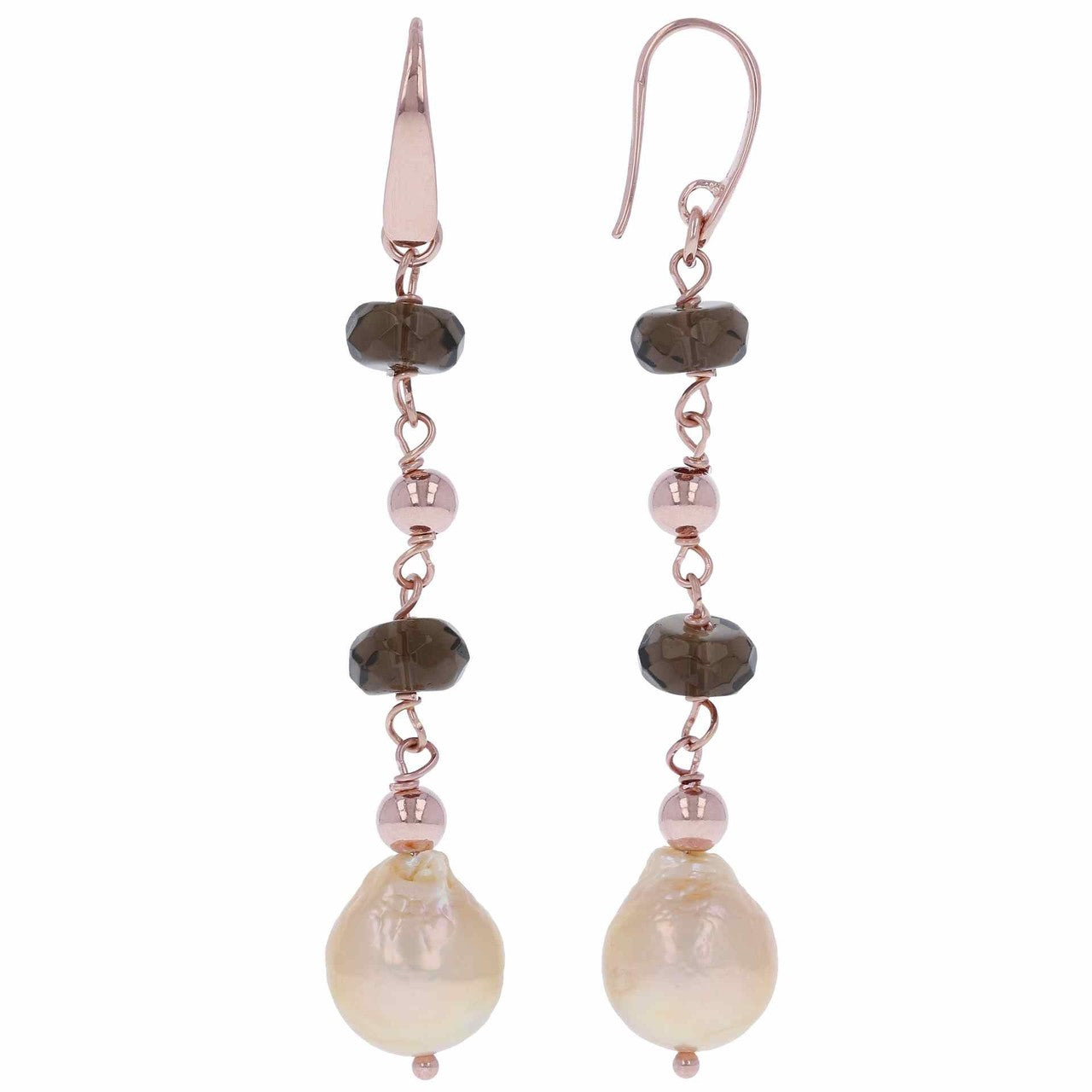 Bronzallure | Earrings | Dangle Pearl Earrings with Smoky Quartz