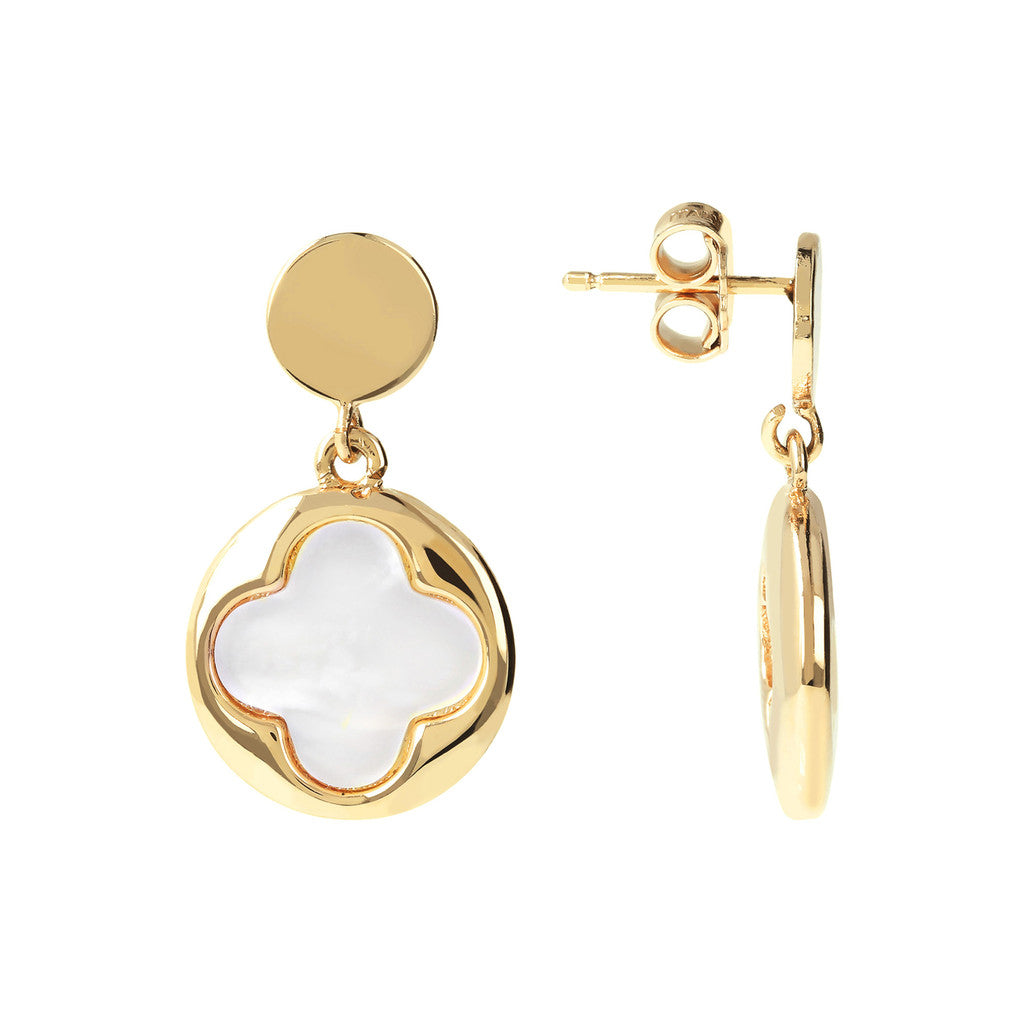 Dangling Earrings Alba Yellow Gold WHITE MOP front and side