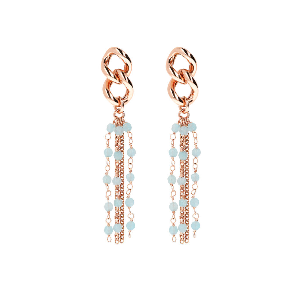 Dangling Earrings Long Multiline LIGHT BLUE QUARTZITE
