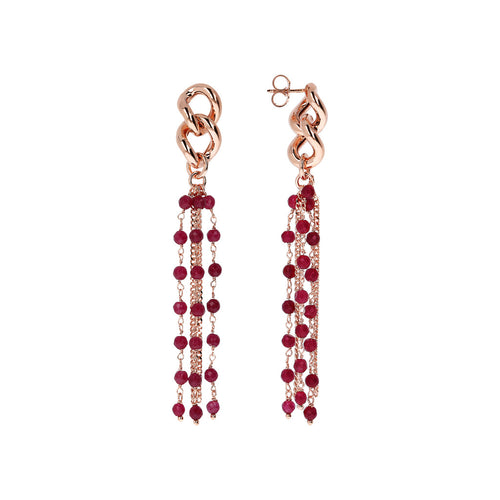 Dangling Earrings Long Multiline PLUM AGATE front and side