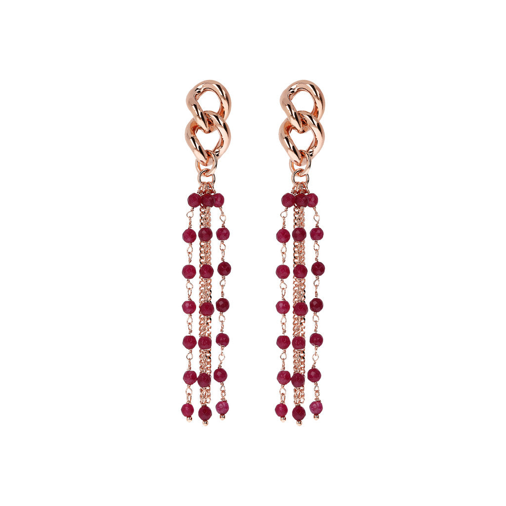 Dangling Earrings Long Multiline PLUM AGATE