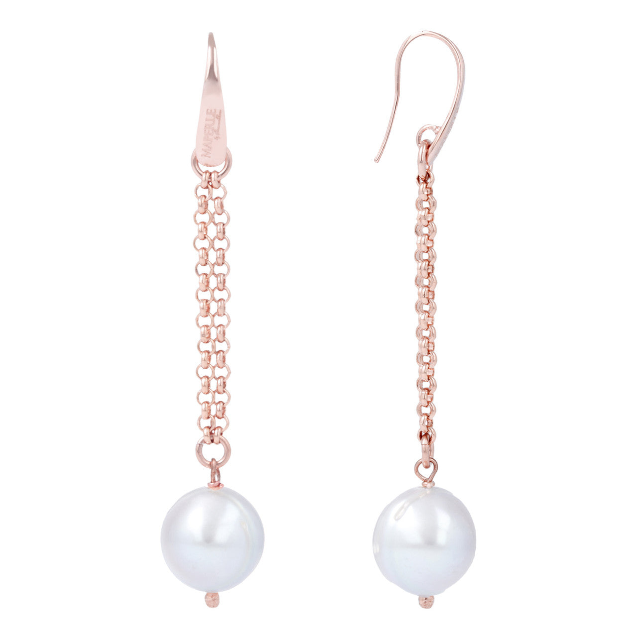 Dangling pearl earrings front and side