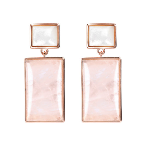 Bronzallure | Earrings | Rectangle Mother of Pearl Dangle Earrings with Natural Stones