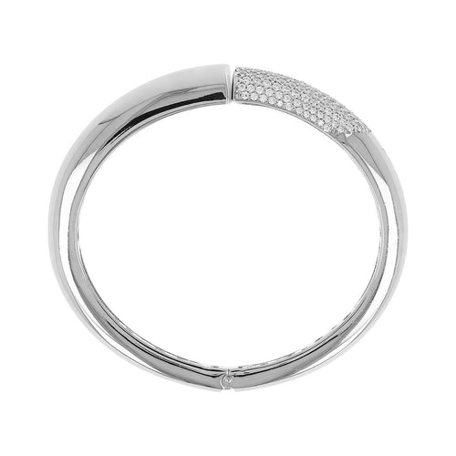 White gold bangle Luna side