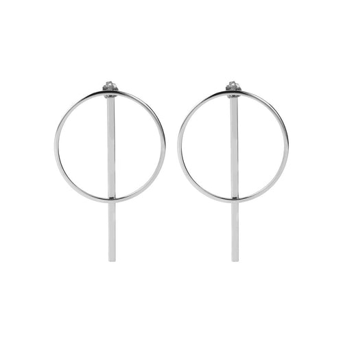 White gold circle earrings Luna