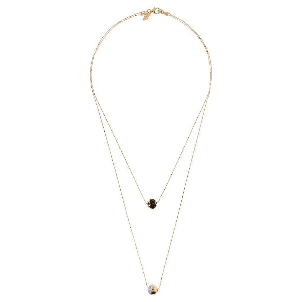 Double Bronzallure Yellow Gold Plated Necklace CZ and Spinel from above