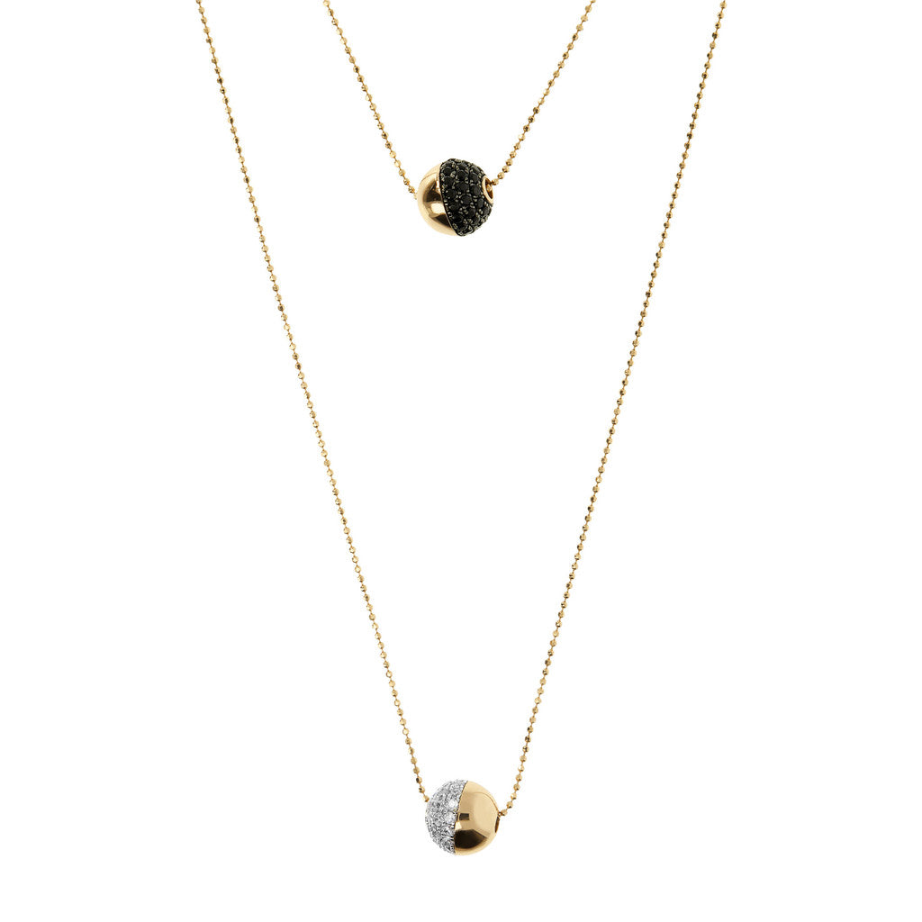 Double Bronzallure Yellow Gold Necklace CZ and Spinel