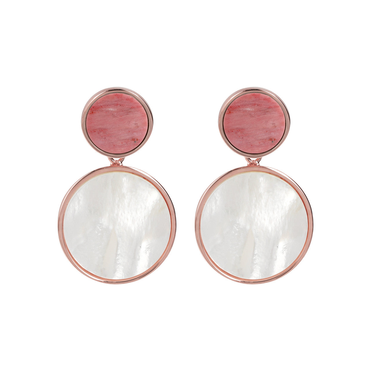 Double Disc Earrings RED FOSSIL WOOD