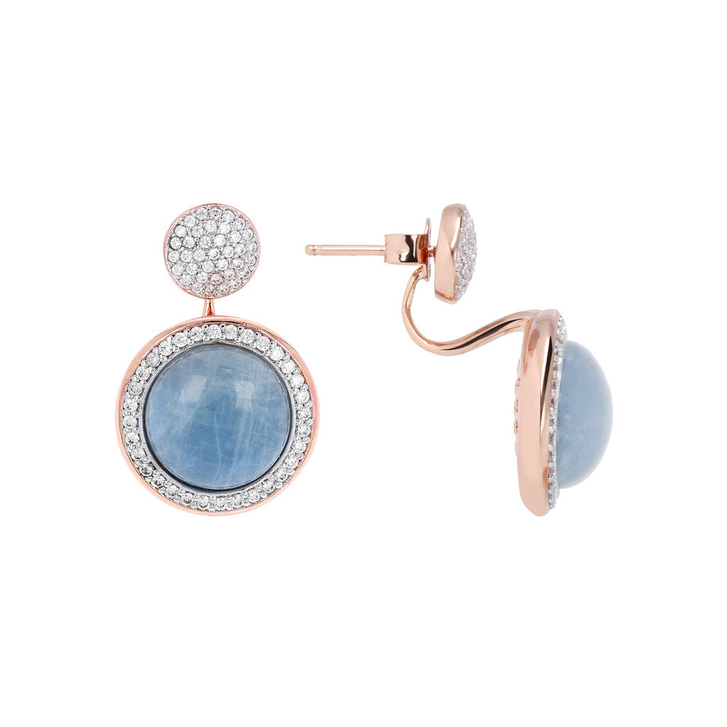 Drop Stone Earrings MILKY AQUAMARINE front and side