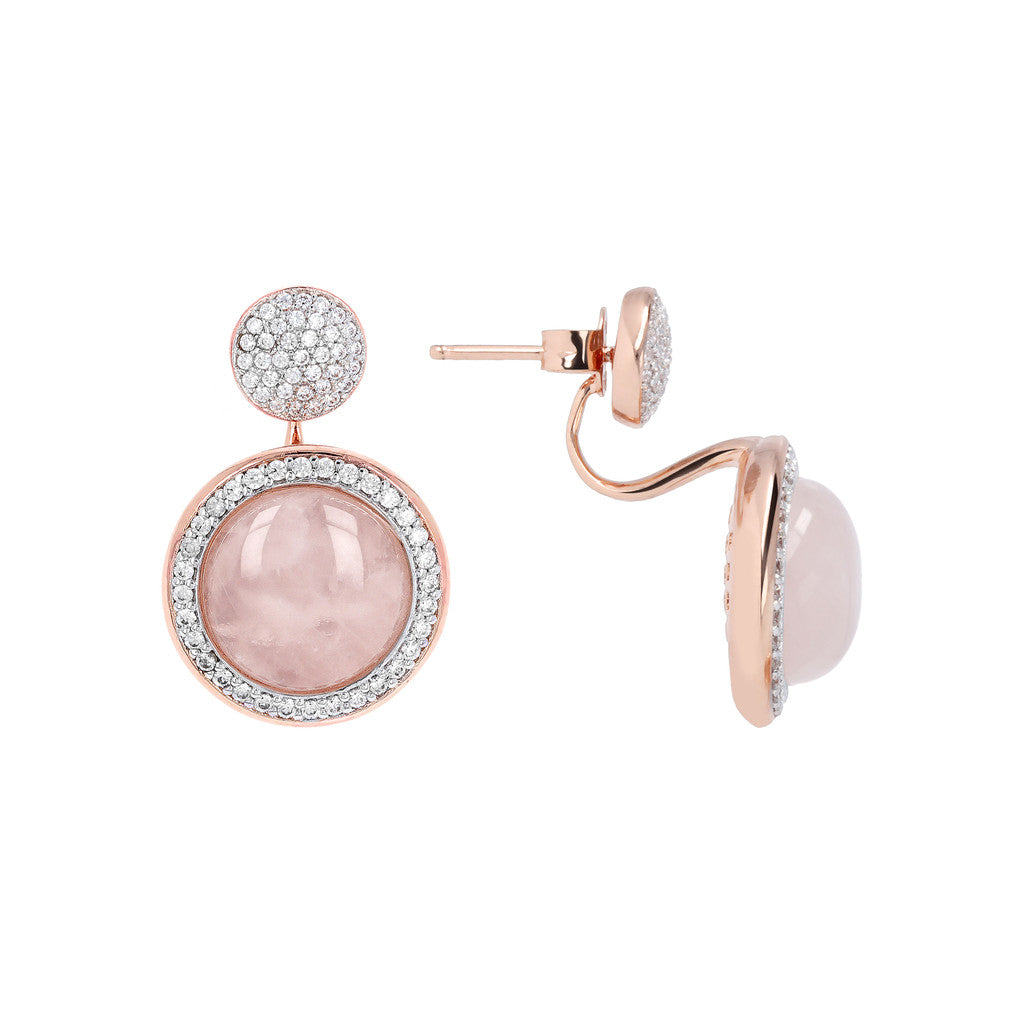 Drop Stone Earrings ROSE QUARTZ front and side